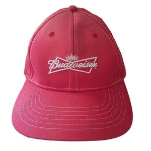 Budweiser Adjustable Hat Cap Red Beer Logo STAINED